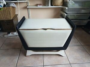 Large 1960 White Lidded Black Gold Trim Vinyl Blanket Box Storage Chest Home Dec