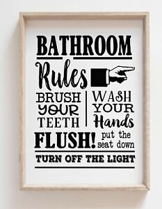 Bathroom Rules Black and White Funny Wall Art Pictures Poster Living Room Modern