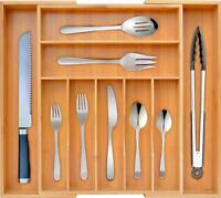 Bamboo Kitchen Drawer Organizer - Expandable Silverware Organizer/Utensil Holder