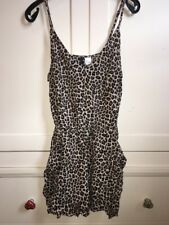 H&m Leopard Print Animal Summer Pocket V Neck Playsuit