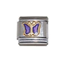 Purple Sparkly Butterfly (b) enamel Italian Charm - fits 9mm classic bracelets