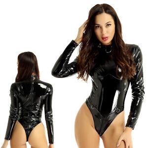 Damen Glanz Lack Leder Stringbody Stehkragen Langarm Zip Bodysuit Unterwäsche M
