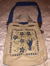 Lucky Brand Bag Tote Crossbody Travel Purse Organizer Canvas Leather+Tag Charms