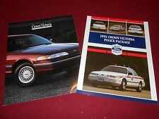 1992 FORD CROWN VICTORIA 16-p. SALES CATALOG + '92 POLICE CARS BROCHURE 2 For 1