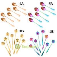 6/8pcs/set Coffee Spoon Flower Shape Stainless Steel Tea Spoon Ice Cream Spoons