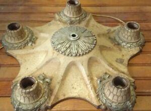 ANTIQUE 1920'S pendant MOUNT CAST IRON VICTORIAN CEILING LIGHT FIXTURE 5 star