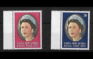 1974 - Papua New Guinea Royal Visit set of 2 Stamps with Margin MNH SG#268/9