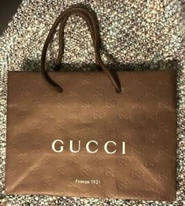 GUCCI PAPER SHOPPING BAG BROWN TEXTURE ROPE HANDLE BRAND NEW