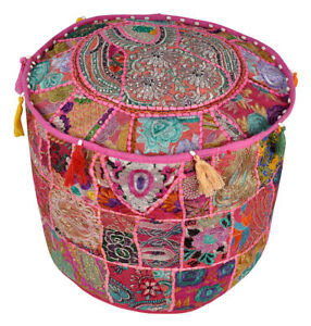 India Handmade Floor Round Bohemian Meditation Pouf Foot Stool Pouf Cover New