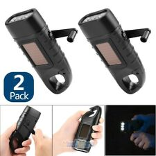 2X Upgrade Hand Crank Solar Powered 2-Way Charged 3LED Flashlight Torch w/ Clip