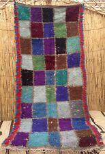 Vintage Moroccan Boucherouite rag rug    237 x 110cm