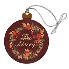 Be Merry Christmas Wreath Wood Christmas Tree Holiday Ornament