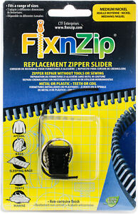 FixnZip Nickel Replacement Zipper for Sewing, Medium