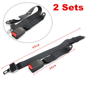 2X Car Seat Belt Lap 2 Point Safety Travel Retractable Adjustable Auto Universal