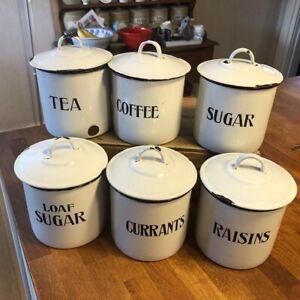 Vintage Set 6 Prince of Wares White Enamel Kitchen Storage Jars / Canisters –