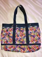 LESPORTSAC NICE*CLASSIC LARGE TRAVEL TOTE BAG ZIP PURSE*BLUE YELLOW GREEN FLORAL