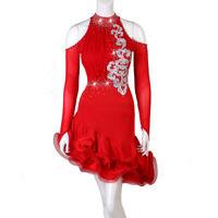 Latin Dance Dress Salsa Tango Cha cha Ballroom Rhinestone Competition Dress F480