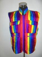 vintage 80`s CLAVIS Weste glanz shiny vest 80s crazy pattern neon regenbogen XL