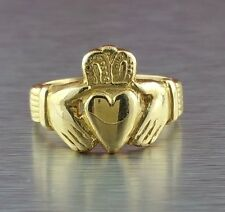 14k YELLOW GOLD CLADDAGH RING size 9 3/4