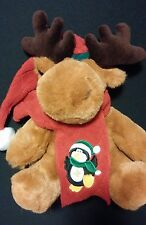 Christmas Reindeer w/ Scarf & Hat Clean Second Hand Used Toy MERRY CHRISTMAS