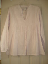 NEW SOFT SURROUNDINGS All In Details Orchid Tint LS Pleated Cotton Blouse Medium