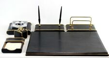 Italian Leather Desk Set in Gold Finish by Rustioni, 1970s [6329]