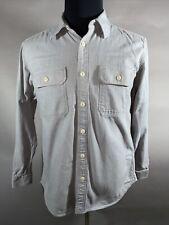 Eddie Bauer Classic Fit Mens M Solod Gray Denim Button Long Sleeve Shirt Medium