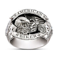 Punk Biker Motorcycle Men Eagle Ring Fashion 925 Silver Ring Jewelry Party Gift