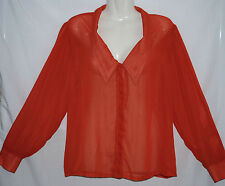 'SUPRE' - Brand New - Plus Size XL - Orange, Long Sleeve, Collar/Button Top