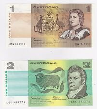 $1 ONE & $2 TWO DOLLAR (UNC) NOTES - ONE OF EACH NOTE (1982 & 1985) - MINT