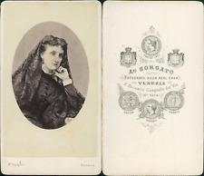 Sorgato, Venezia, femme à la mantille Vintage CDV albumen carte de visite