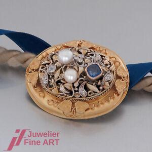 Schnäppchen: BROSCHE ANTIK - Topas, Perlen & Diamant-Rosen in 14K/585 Gelbgold