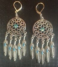 Bohemian/Southwestern Silver And Turquoise Dreamcatcher Earrings W/Feathers