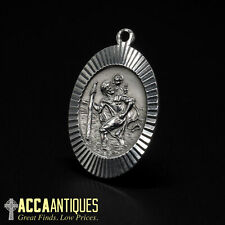 Antique Silver St Christopher Albert Watch Chain Fob Necklace Pendant 5.7g
