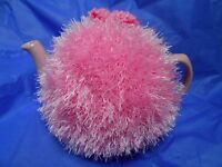 Funky fluffy tea cosy hand knitted in Wales CANDY PINK please see size guide