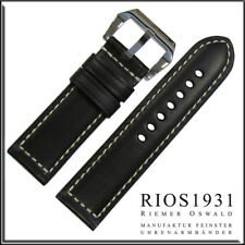 22x22 mm RIOS1931 for Panatime - Black Firenze Genuine Leather Watch Band For Pa