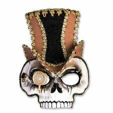 Adults Steampunk Skull Top Hat & monocle Halloween Fancy Dress Face Mask