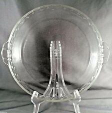 """Pyrex Pie Plate 229 Fluted Edge Tab Handles 10"""" Clear Glass Round Baking Dish"""