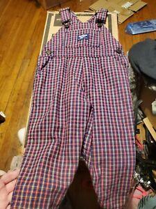 Oshkosh Overalls 3t Vintage Vestbak Stripe Plaid 100% Cotton Boys Girls Unisex