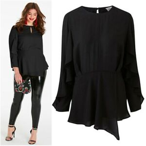 Simply Be Ladies Hi Neck Black Ruffle Long Sleeve Blouse Top Shirt Plus Size 24