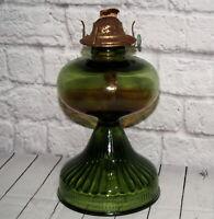 Vintage Oil Lamp Base Burner Green Glass Ribbed Wick Farmhouse Art Deco Lighting