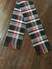 Ralph Lauren Blue Label 100% Lambs wool Black Red Plaid Scarf Made In Italy