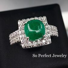 COLOMBIAN 3.81TCW EMERALD & Diamonds in 18K solid white gold ring Engagement