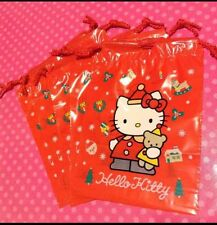 Vintage Sanrio Hello Kitty X'mas Santa Holiday 10pc Plastic Drawstring Gift Bags