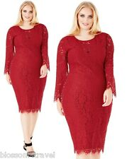Goddiva Wine Scalloped Lace Long Sleeve Cocktail Party Evening Dress RRP £69