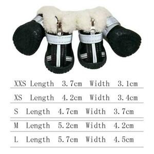 4x Boots For Dog Waterproof Winter Shoes Anti-Slip Footwear HOT Rains Thick H5A6