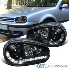 For 99-06 VW Golf Mk4 GTI R32 Black LED Strip Projector Headlights Left+Right