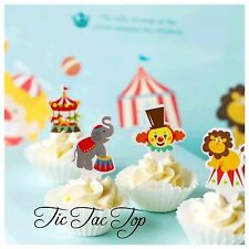 🎪12x Circus Carnival CUPCAKE TOPPER. Party Supplies Clown Carousel Lolly Bag