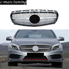 For Mercedes W176 A Class Diamond Design Silver Sport Grille Grill 2013 14 2015