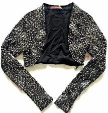 $595 Alice Olivia Sequin Jacket Shrug Bolero Crop Coverup Beaded Embellished XS